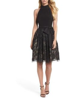 High Neck Jersey & Lace Party Dress