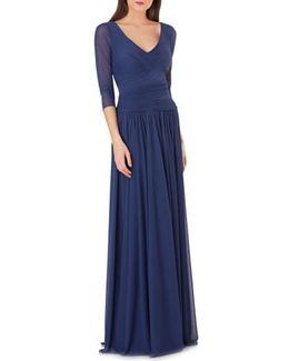 Surplice Drop Waist Gown