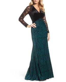 V-neck Velvet & Illusion Gown