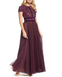 Pleated Lace & Chiffon Gown