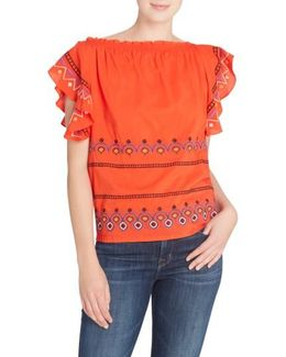 Barbara Embroidered Ruffle Sleeve Blouse
