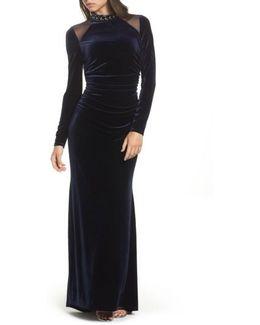 Mesh Panel Embellished Velvet Gown