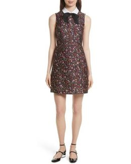 Detachable Collar Floral Jacquard Dress