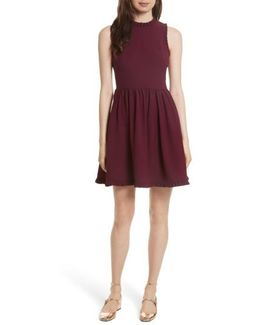 Ruffle Trim Fit & Flare Dress