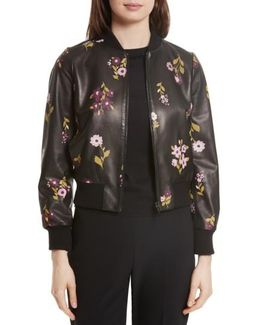 In Bloom Leather Bomber Jacket