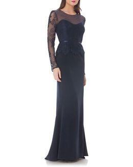 Embellished Crepe Mermaid Gown
