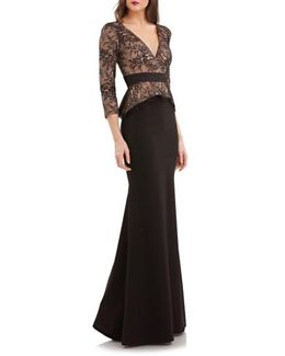 Lace & Crepe Peplum Gown