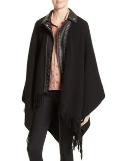 Leather Collar Wool Blend Poncho