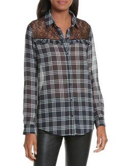 Lace Yoke Plaid Shirt