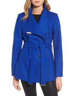 Wool Blend Short Wrap Coat