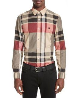 Coatson Check Slim Fit Cotton & Linen Sport Shirt