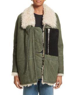 Ines Suede & Genuine Shearling Coat