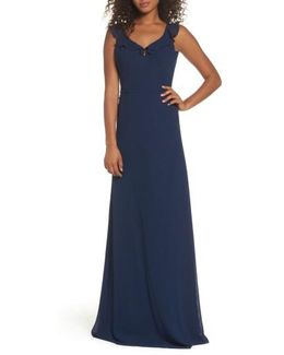 Keira Backless Chiffon Gown