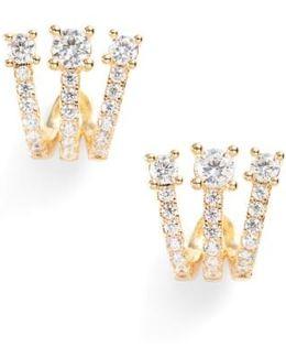 Katherine Crystal Huggie Earrings