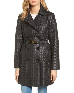 Bow Belt Double-breasted Quilted Jacket
