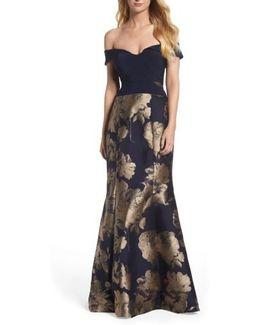 Brocade Skirt Off The Shoulder Gown