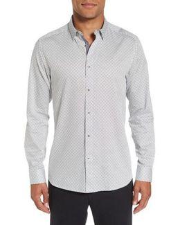 Larosh Slim Fit Basket Weave Print Sport Shirt