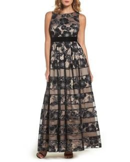 Inset Waist Panel Lace Ballgown