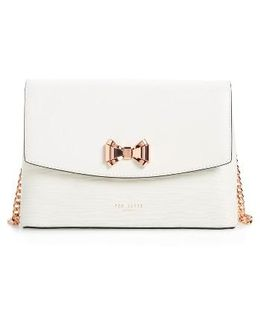 Curved Bow Flap Leather Crossbody Satchel