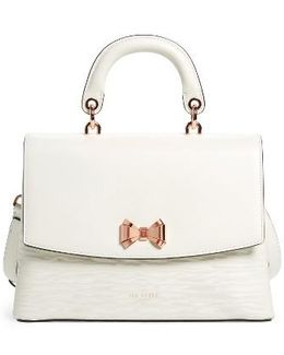 Lady Bow Flap Top Handle Leather Satchel