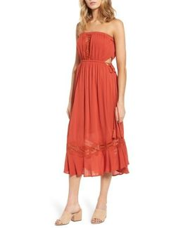 Lace Inset Strapless Dress