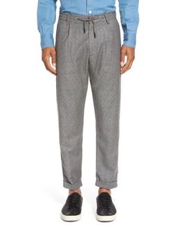 Houndstooth Wool Drawstring Jogger Pants