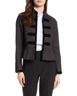 Velvet Trim Military Jacket