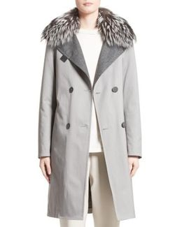 Water Repellent Gabardine Trench Coat With Genuine Fox Fur Collar
