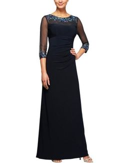 Embellished Ruched Empire Waist Gown