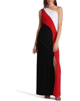 One-shoulder Colorblock Maxi Dress