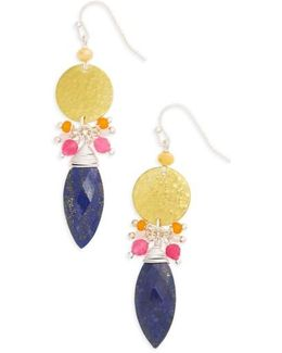 Disc Stone Statement Earrings