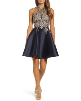 Embellished Embroidered Mikado Party Dress