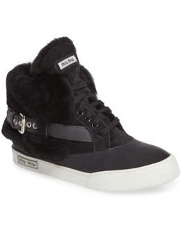 Genuine Shearling Cuffed Buckle Strap Sneaker