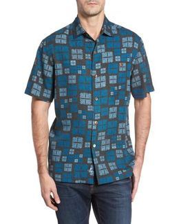 Isla Tiles Standard Fit Silk Camp Shirt