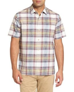 Lazlo Plaid Standard Fit Silk & Cotton Camp Shirt