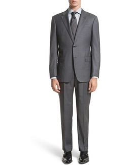 Trim Fit Solid Wool Suit