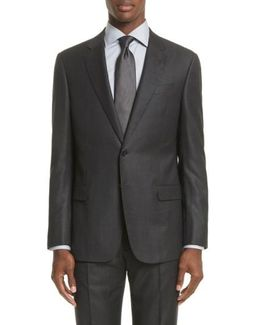 Trim Fit Windowpane Wool Suit