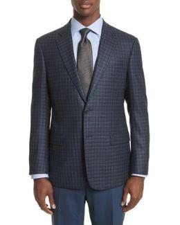 Trim Fit Check Silk & Wool Sport Coat