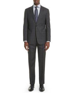 Armani Collezioni Trim Fit Plaid Wool Suit