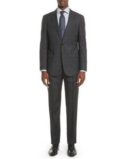 Armani Collezioni Trim Fit Plaid Wool Suit