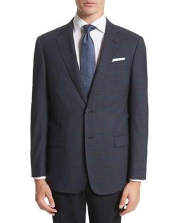 Armani Collezioni Trim Fit Plaid Wool Sport Coat