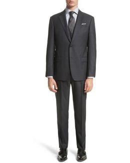 Trim Fit Plaid Wool Suit