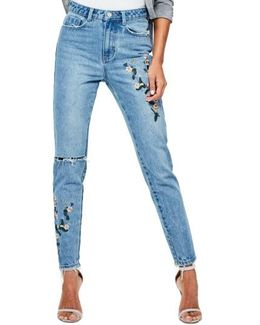 Riot Ripped High Waist Embroidered Jeans