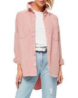 Back Graphic Oversize Denim Shirt