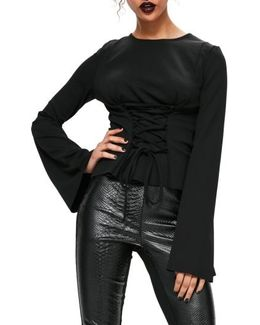 Corset Detail Flare Sleeve Top