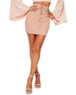 Ribbed Lace-up Waist Miniskirt