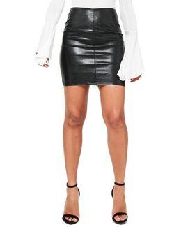 Faux Leather Mini Shirt