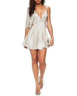 Asymmetrical Sleeve Swing Dress
