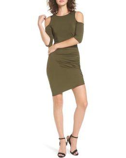Ruched Cold Shoulder Dress