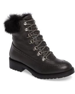 Rugby Genuine Rabbit Fur Lace-up Boot